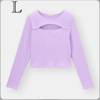 ジーユー(GU)のカジュアル セクシー ショート丈 胸元カットアウト リブニットTシャツ 薄紫 L(Tシャツ/カットソー(七分/長袖))