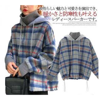 大活躍☆ チェック ビックシルエット トレーナー 韓国ファッション オルチャン(パーカー)