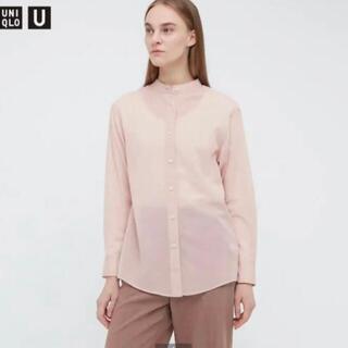 ユニクロ(UNIQLO)の新品 UNIQLO シアーバンドカラーシャツ ピンク S(シャツ/ブラウス(長袖/七分))
