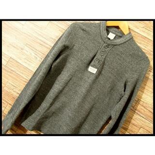 アバクロンビーアンドフィッチ(Abercrombie&Fitch)の美品 アバクロ ヘンリーネック コットン ニット セーター S グレー(Tシャツ/カットソー(七分/長袖))