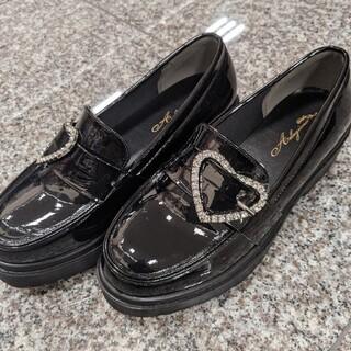 厚底ハートバックルエナメルローファーL革靴ロジータ系量産型地雷系ゴシックロリータ