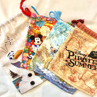 ディズニー(Disney)の【★ディズニー公式★】ディズニー 巾着袋 巾着バック 小物入れ ポーチ(キャラクターグッズ)
