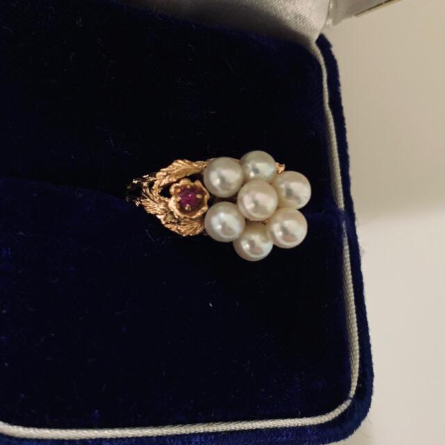 世界に一つ^o^本真珠&本物ルビー k14 指輪 レディースのアクセサリー(リング(指輪))の商品写真