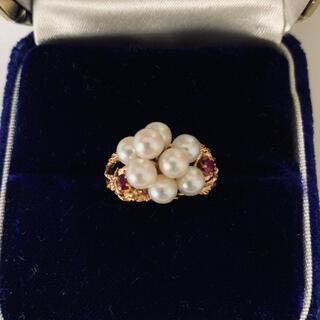 世界に一つ^o^本真珠&本物ルビー k14 指輪