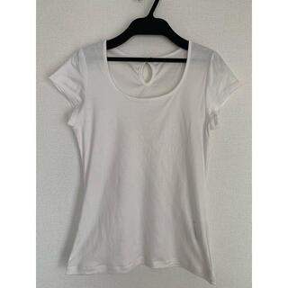 エクリュフィル(ecruefil)の【1回使用】ecruefil パフスリーブリボンTシャツ(白)(Tシャツ(半袖/袖なし))