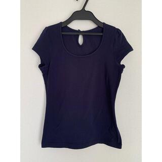 エクリュフィル(ecruefil)の【1回使用】ecruefil パフスリーブリボンTシャツ(ネイビー)(Tシャツ(半袖/袖なし))