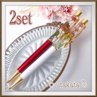 (no.117ハーバリウムボールペン)2本セット*・リトルウッズ極小薔薇(ドライフラワー)