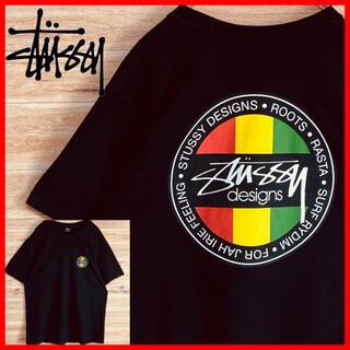 STUSSY - 【美品】stussyステューシーtシャツ半袖Mラスタカラー人気黒メキシコ製