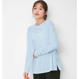 ジーユー(GU)のGU シアーロングスリーブT(長袖)  LIGHT BLUE XXL(Tシャツ(長袖/七分))