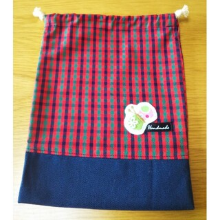 ファミリア(familiar)のファミリア生地の巾着袋、コップ袋、給食セット、ミナペル蝶、ハンドメイド、入園入学(ランチボックス巾着)