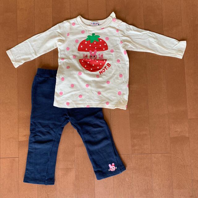 HOT BISCUITS(ホットビスケッツ)のミキハウス ホットビスケット ロンT パンツ セット 90 キッズ/ベビー/マタニティのキッズ服女の子用(90cm~)(Tシャツ/カットソー)の商品写真
