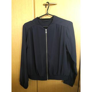 ジーユー(GU)のGU 夏服 ブルゾン ポリエステル ジップ 紺色 ネイビー sサイズ 無地 長袖(ブルゾン)