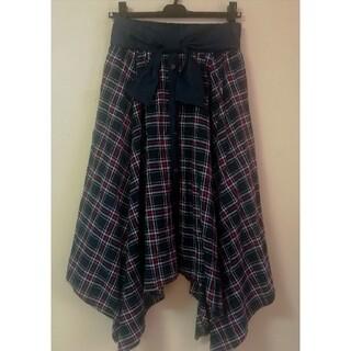 美品 ネイビー チェック柄 リボン付 スカート(ロングスカート)