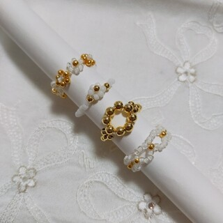 ビーズ 指輪 4点セット ホワイト×ゴールド ハンドメイド(リング)