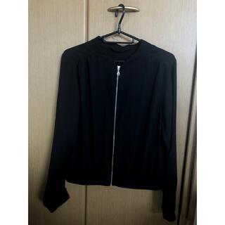 ジーユー(GU)のGU 夏服 ブルゾン ポリエステル ジップ 黒色 ブラック Mサイズ 無地 長袖(ブルゾン)