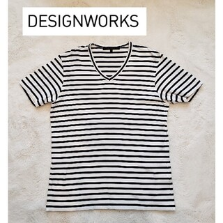 DESIGNWORKS - デザインワークス ボーダー Tシャツ Vネック 半袖 DESIGN WORKS