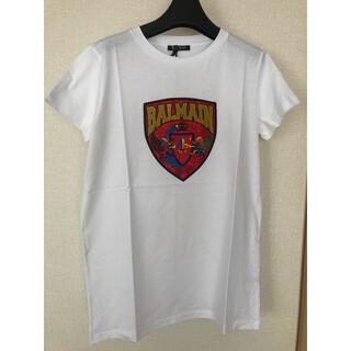 バルマン(BALMAIN)の新品バルマンキッズBALMAINスパンコールロゴTシャツ白14Y(Tシャツ(半袖/袖なし))
