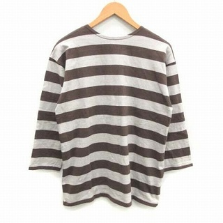 ウエアハウス(WAREHOUSE)のウエアハウス Tシャツ カットソー ボーダー 七分袖 42 XL 茶 グレー(その他)