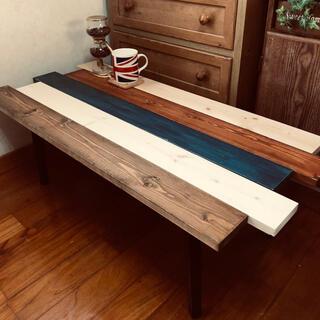 木目調 センターテーブル 棚 ラック 折り畳み 収納可能 新品(ローテーブル)