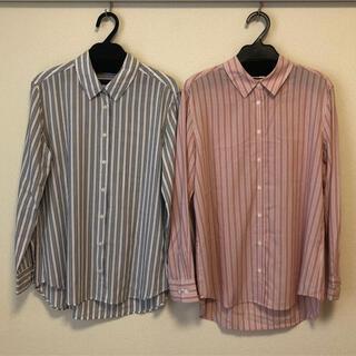 ユニクロ(UNIQLO)のユニクロ ストライプシャツ 2枚セット レーヨン ブラウス(シャツ/ブラウス(長袖/七分))