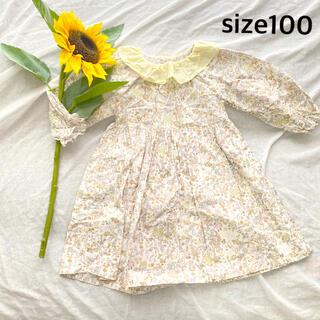 ボンポワン(Bonpoint)のフリル襟 襟付き ワンピース 花柄 (ワンピース)