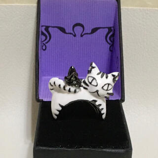 ANNA SUI - ANNA SUI 猫 白猫 ネコモチーフリング 未使用