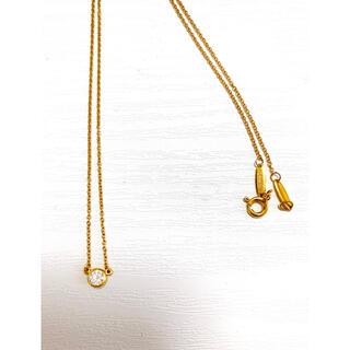 Tiffany & Co. - ティファニー 一粒ダイヤ ネックレス イエローゴールド