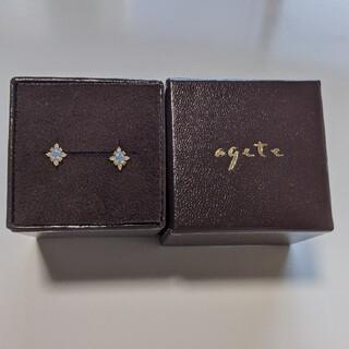 agete - agete k18 オパール ダイヤモンドピアス