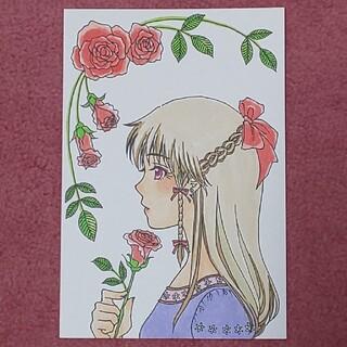 手描きイラスト 薔薇 女の子