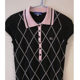 BURBERRY BLUE LABEL - バーバリーブルーレーベル ポロシャツ ニット 黒×ピンク