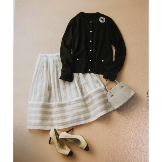 FOXEY(フォクシー)の★週末お値下げ★ フォクシー リネン&シルク スカート シルクホワイト 42 レディースのスカート(ひざ丈スカート)の商品写真