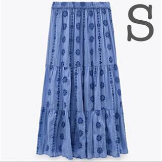 【新品未使用】ZARA カットワーク エンブロイダリー ロングスカート 刺繍 S(ロングスカート)