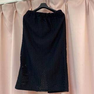 ジーユー(GU)のGU 黒タイトスカート 膝丈 大きいサイズ(ひざ丈スカート)