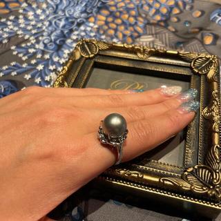 天然黒真珠 リング pt900 鑑別付き(リング(指輪))