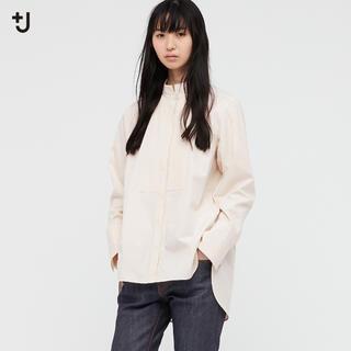 ユニクロ(UNIQLO)のユニクロUNIQLO☆+J新品 スーピマコットンタックシャツ☆Lナチュラル(シャツ/ブラウス(長袖/七分))
