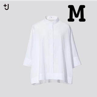 ユニクロ(UNIQLO)のユニクロ+J  ジルサンダー スーピマコットンドルマンスリーブシャツ(7分袖)M(シャツ/ブラウス(長袖/七分))