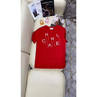 CHANEL -  CHANEL  ビーズの赤い半袖セーター