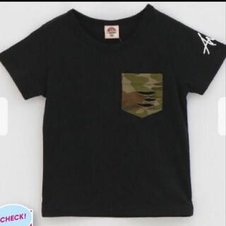 アナップキッズ(ANAP Kids)のANAPkids新品迷彩ポケットTシャツブラック(Tシャツ/カットソー)