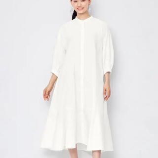ジーユー(GU)のバンドカラーシャツワンピース(7分袖) 白(ロングワンピース/マキシワンピース)