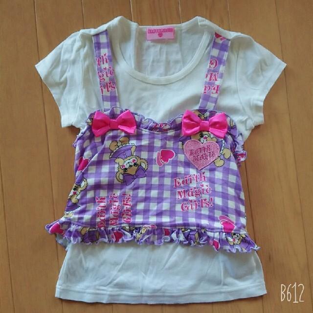 EARTHMAGIC(アースマジック)のギンガムチェックセトア キッズ/ベビー/マタニティのキッズ服女の子用(90cm~)(Tシャツ/カットソー)の商品写真