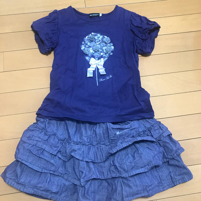 BeBe(ベベ)のBeBe カットソー&ショートパンツ上下セット140 キッズ/ベビー/マタニティのキッズ服女の子用(90cm~)(Tシャツ/カットソー)の商品写真