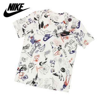 ナイキ(NIKE)の新品 Lサイズ ナイキ 総柄 Tシャツ 半袖 スウッシュ ホワイト ウェア(Tシャツ/カットソー(半袖/袖なし))