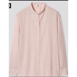 ユニクロ(UNIQLO)のユニクロ シアーバンドカラーシャツ(長袖) Lサイズ ピンク(シャツ/ブラウス(長袖/七分))