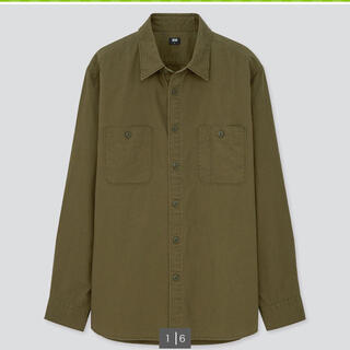 ユニクロ(UNIQLO)の未使用 メンズ ウォッシュワークシャツ カーキ(シャツ/ブラウス(長袖/七分))