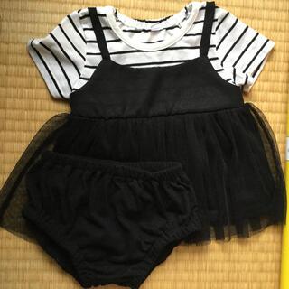 ニシマツヤ(西松屋)の半袖 重ね着風 ワンピース チュニック パンツ付き 70 レース ボーダー 美品(ワンピース)