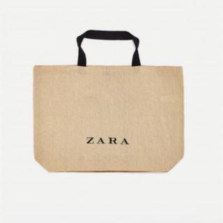 ZARA - ZARA 麻素材 ジュートトートバッグ