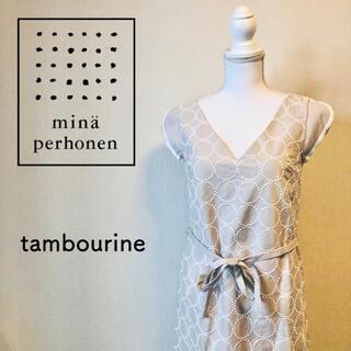 mina perhonen - ミナ ペルホネン タンバリン 刺繍 フレンチスリーブ ワンピース