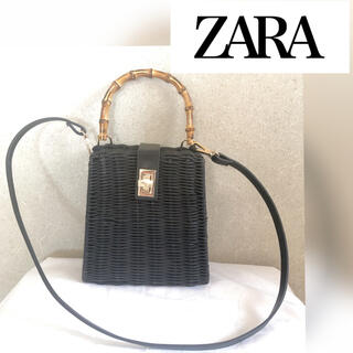 ZARA - ZARA カゴバッグ ブラック