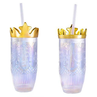Starbucks Coffee - 【スターバックス海外限定】バレンタインシリーズ 王冠 ガラスタンブラー キラキラ