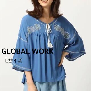 GLOBAL WORK - GLOBAL WORK  レーヨンフレア 刺繍ブラウス